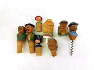 8 Vintage Hand Carved Figural Bottle Stoppers or Corks