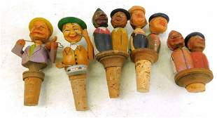 5 Vintage Anri Figural Wood Bottle Stoppers with