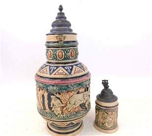 Antique 2.5L Beer Stein and Matching 1/4L Beer Stein