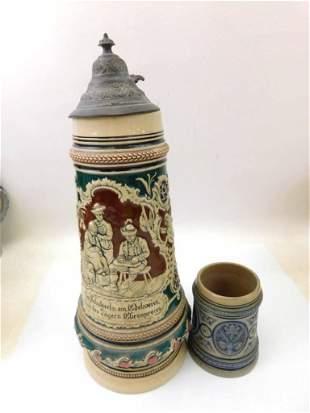 1 1/2L Antique Pottery Beer Stein w a 1/4L Blue Salt