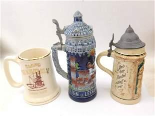 3 Beer Steins incl Antique German Castle Tower Beer