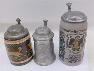 3 Steins incl Octoberfest Munchen 1810 - 1935 1L Stein