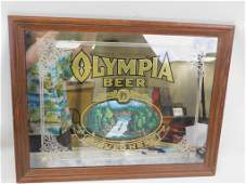 Vintage Olympia Beer Framed Bar Mirror