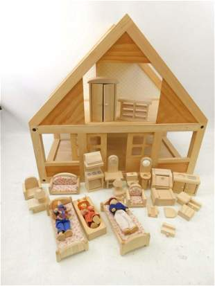 Wood Dollhouse with Furniture and Dolls