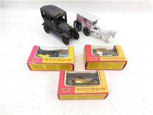 3 Vintage Lesney Matchbox Cars in Original Boxes and 2