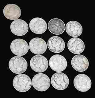 16 Mercury Dimes and 1 Roosevelt Dime 90% Silver
