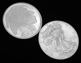 2 oz of Silver incl 2015 BU American Silver Eagle and