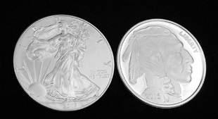 2 oz of Silver incl 2017 BU American Silver Eagle and