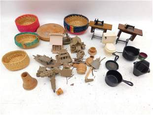 Lot of Dollhouse Miniatures incl Sewing Machines ,