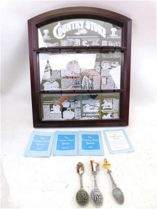 Country Store Mirror Spoon Display Rack with 3 Spoons