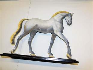 Metal Horse Statue Hand Painted Cut Out on a Wood Base