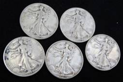5 Nice 1944 Walking Liberty Half Dollars 90% Silver