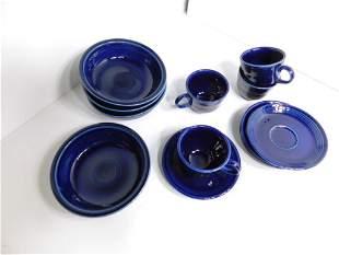 Fiestaware 4 Bowls , 5 Saucers , 4 Cups in Dark Blue
