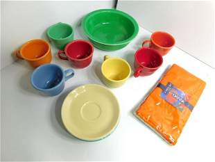 Lot of Fiestaware Multi Colored 7 Cups , 4 Saucers ,