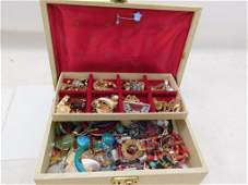 Jewelry Box Filled with Costume Jewelry incl Vintage