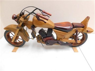 """Large Decorative Motorcycle Mostly Wooden Approx 30"""""""