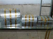 3 Metal Treasure Chest Trinket Boxes