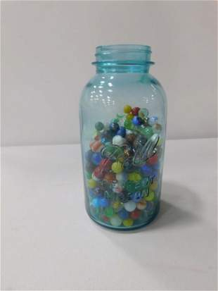 Blue Ball Jar of Marbles