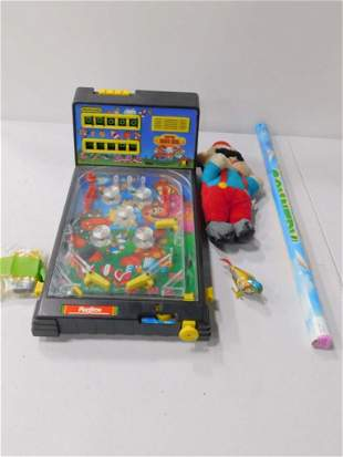 Toy Super Mario Bros Pinball Game and Plush and a