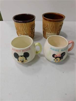 2 Harvey's Lake Tahoe Tiki Mugs , 2 Disney Mickey Mouse