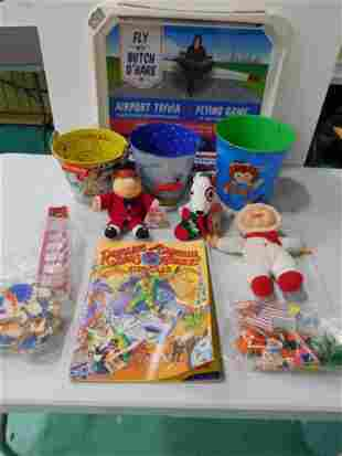 Collectible Toy Lot incl 3 Metal Buckets , Target Dog ,