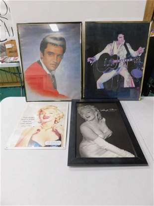 2 Framed Elvis Prints , Metal Marilyn Monroe Sign ,