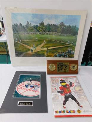 Currier and Ives Baseball Print , Mickey Mantle Matted