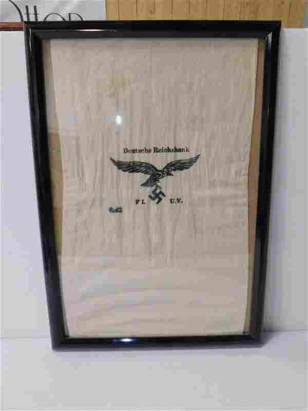 WWII German Luftwaffe Air Force Payroll Bag - Framed