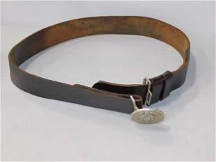 WWII German Brown Leather Belt. Meine Ehre heiBt Treue