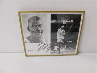 """Michael Jordan Autographed Picture 10""""x8"""" Framed with"""