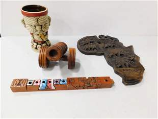 Carved Wood Canon , a Carved Wood Africa Wall Hanging ,