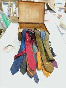 Lot of Men's Ties and a Half Mask and a Carrying Case