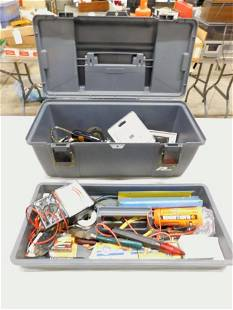 Tool Box with Tools, Voltage Meter , etc