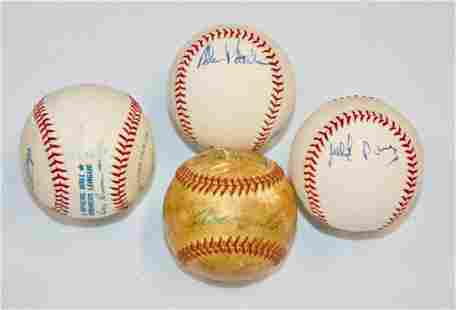 Lot of 4 Signed Baseballs - Unknown Signatures