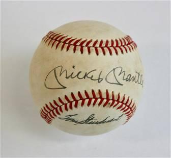 Mickey Mantle / Tom Sturdivant Signed Baseball