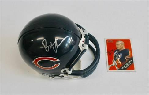 Brian Urlacher Signed Mini Helmet and Card