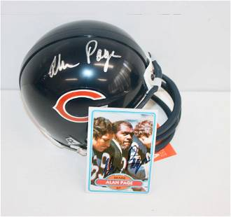 Bears Alan Page Signed Mini Helmet and Signed Card
