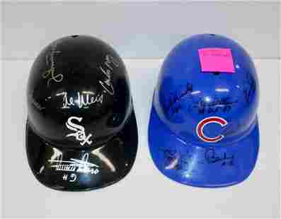 Lot of 2 Signed Batting Helmets - White Sox and Cubs