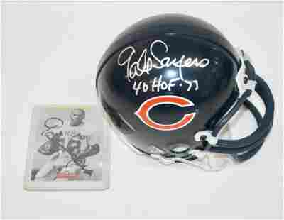 Gale Sayers Signed Mini Helmet and Card