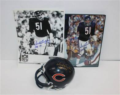 Dick Butkus Signed Mini Helmet And Photos