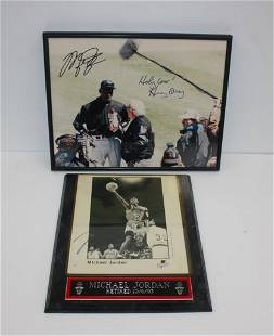Michael Jordan and Harry Caray Signed Photo And Plaque