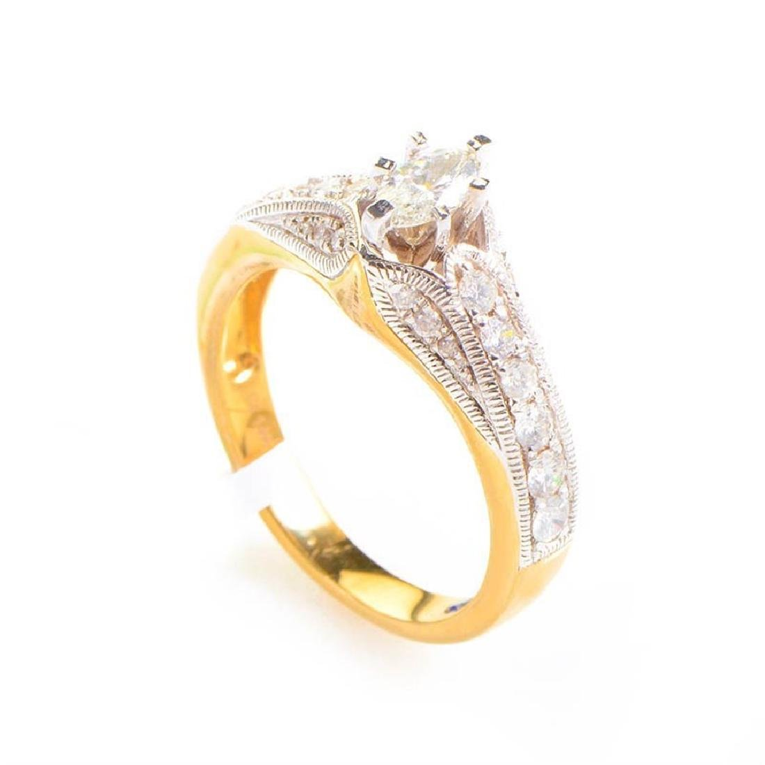 14K Yellow  White Gold Diamond Engagement Ring