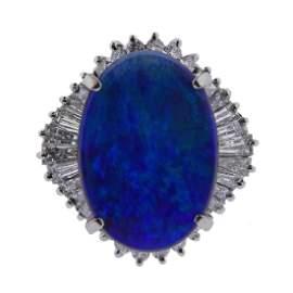 Platinum 8.22ct Opal Diamond Ring