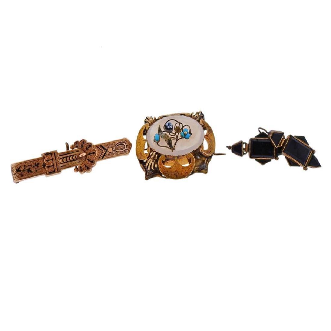 Antique Victorian Gold Metal Gemstone Jewelry Lot