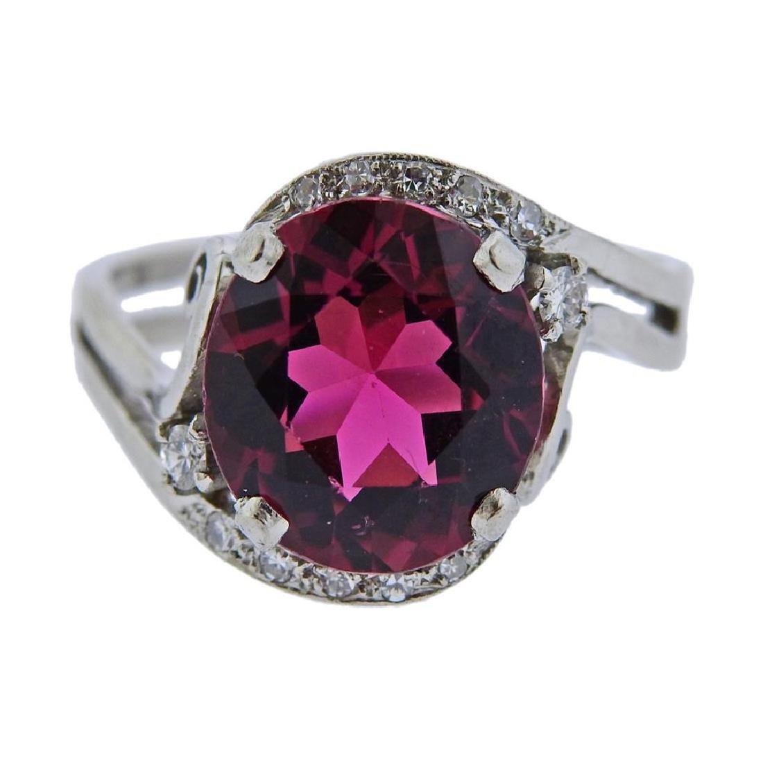 Mid Century 14k Gold Pink Tourmaline Diamond Ring