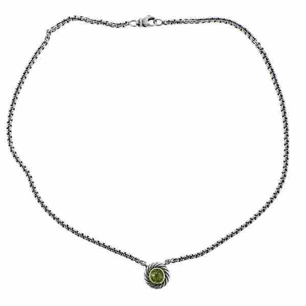 David Yurman Cookie 18K Gold Silver Peridot Pendant