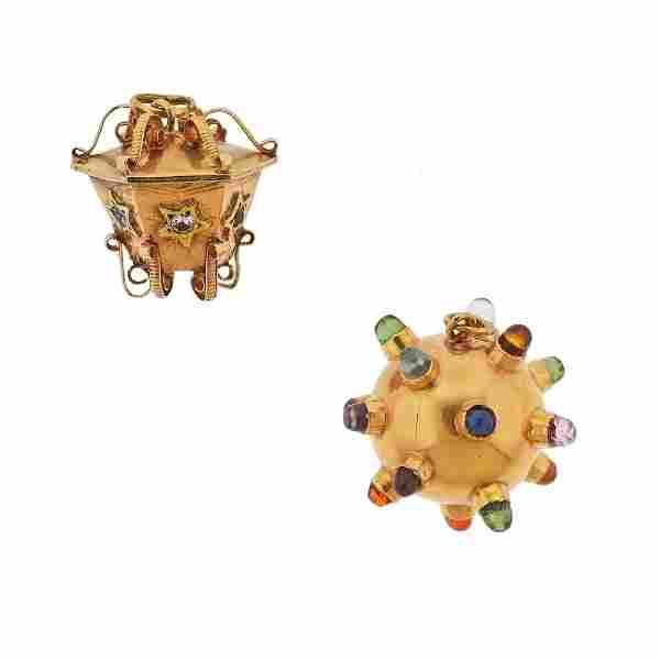 14k Gold Gemstone Sputnik Charm 2pc Lot