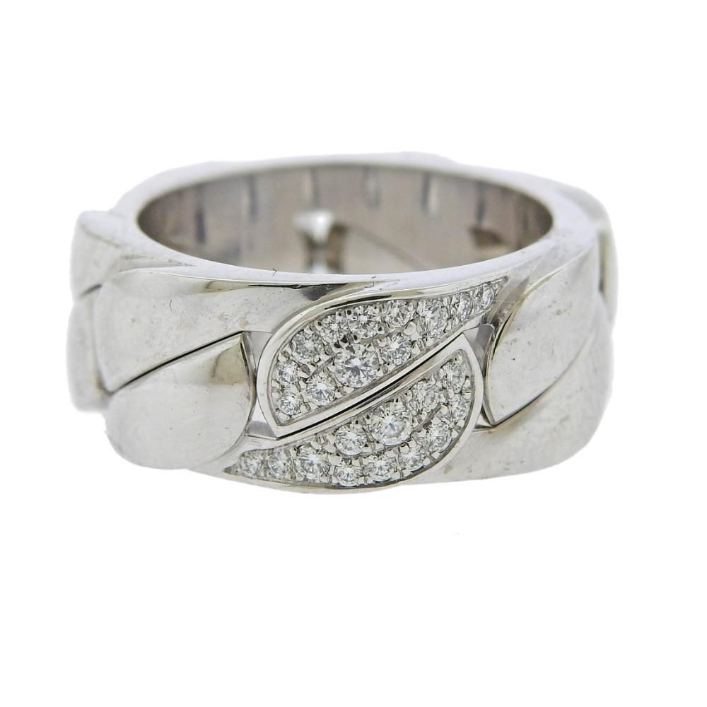 Cartier 18K Gold Diamond Curb Link Band Ring 49