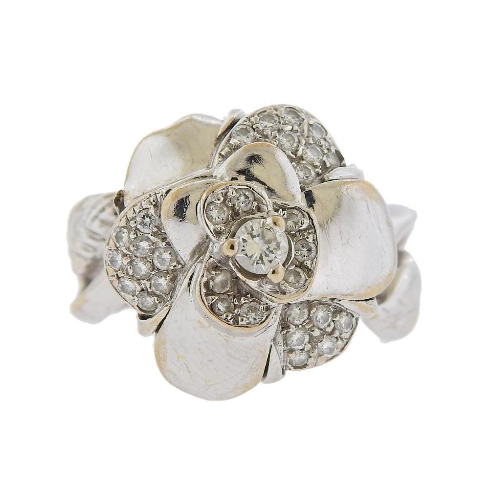 Chanel 18K Gold Diamond Camellia Ring