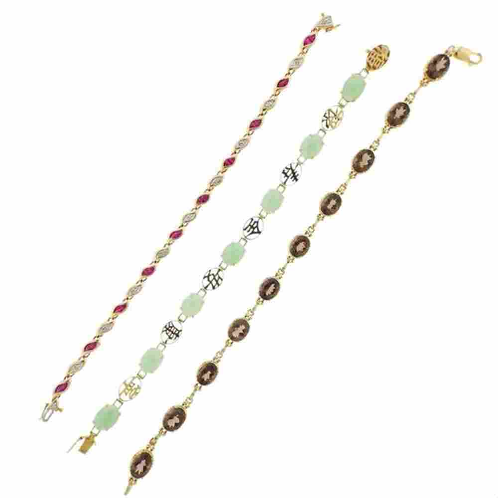 14K Gold Diamond  Jade Topaz Ruby Bracelet Lot of 3